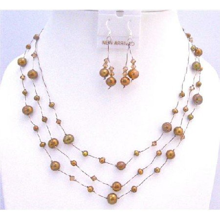 BRD844 Brown Pearls Lite Smoked Topaz Swarovski Crystals Three Stranded Silk Thread Set