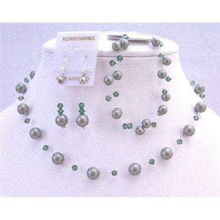 BRD829  Green Pearls Crystals Swarovski Jewlery Set Powder Green Pearls Turmarine Green Crystals