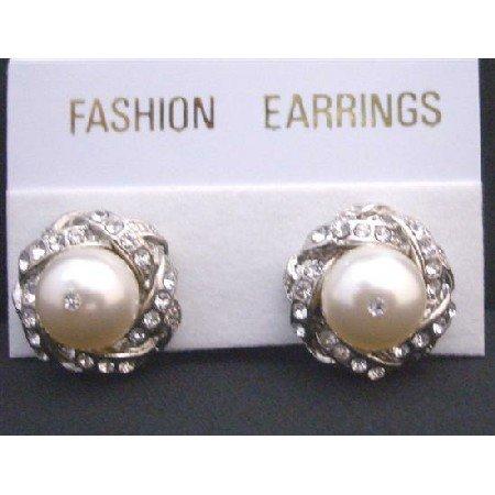 ERC529  Swarovski Cream Pearls Stud Post Earrings Surrounded w/ Cubic Zircon Pierced Earrings