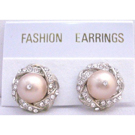 ERC525 Genuine Swarovski Rose Pearls Stud Post Earrings Surrounded w/ Cubic Zircon Pierced Earrings