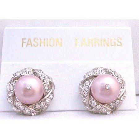 ERC522  Swarovski Powder Rose Pearls Stud Post Earrings Surrounded Cubic Zircon Earrings