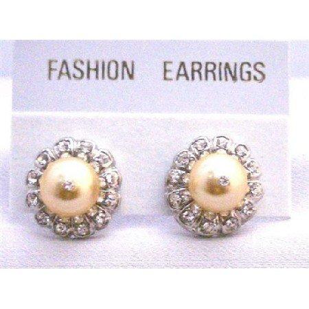 ERC512  Gold Swarovski Pearls Stud Post Earrings Surrounded w/ Cubic Zircon Pierced Earrings