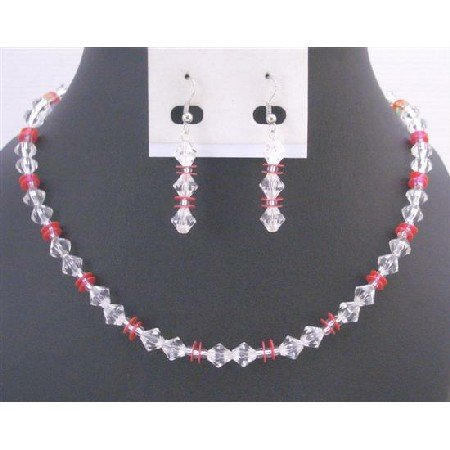 UNS057 High Quality Beads Clear Immitation Crystals w/ Red Daisy Spacer Prom Jewelry Gift Set