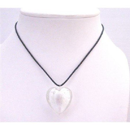 UNE170  White Murano Glass Heart Pendant Necklace Jewelry With Black Chord Jewelry
