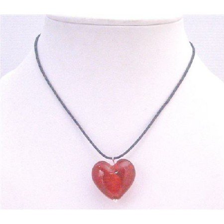 UNE171 Red Murano Glass Heart Pendant Necklace Jewelry With Black Chord Jewelry