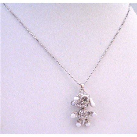 UNE173  Very Cute Dog Pendant Sparkling Crystals Hands Legs Movable 16 Inches Length Necklace