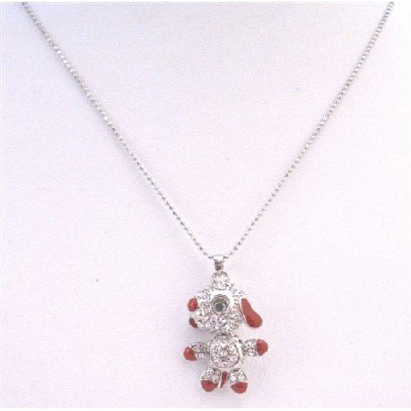 UNE174 Animal Pendant Necklace Striking & Adorable Dog Pendant Sparkling Crystals Pendant Necklace