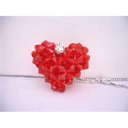 NSC667  Passion Jewelry Lite Siam Red Puffy Heart Swarovski Crytal Hanmade Puffy Red Heart Necklace