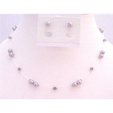 BRD929 Mauve Pearls Jewelry Set Genuine Swarovski Amethyst Crystals Accented In Silk Thread