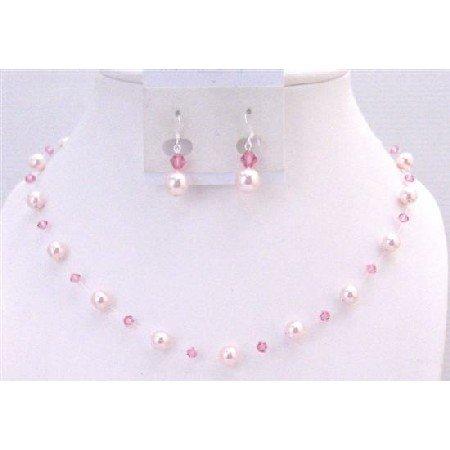 BRD904 Wedding Affordable Rose Pearls Rose Swarovski Crystals Bridemaids Jewelry Set