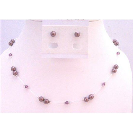 BRD931 Swarovski Burgundy Pearls Amethyst Crystals Accented In Silk Thread Necklace Set