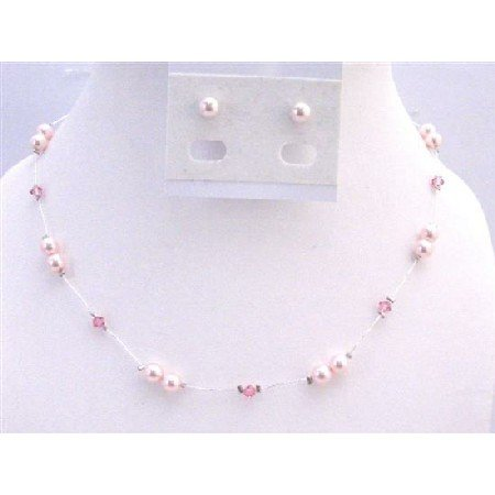 BRD928  Rose Pink Swarovski Pearls With Rose Crystals Accented In Silk Thread Bridal Bridemaids Set