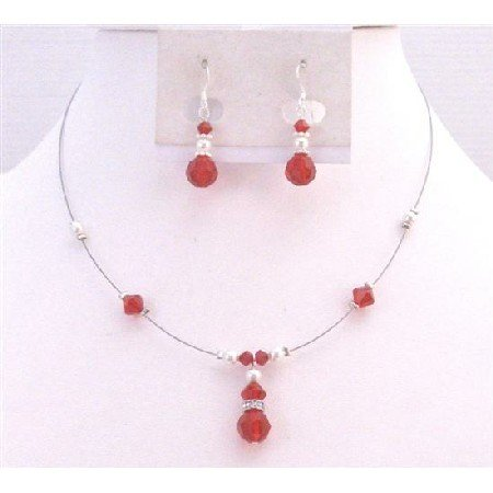 BRD925 Swarovski Lite Siam Red Crystals With White Pearls Necklace Set