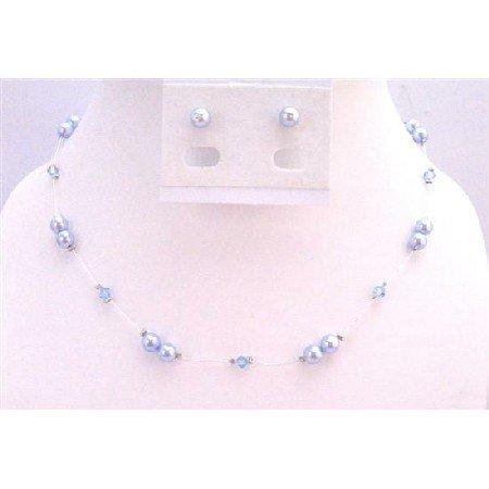 BRD932 Genuine Swarovski Blue Pearls Aquamarine Crystals Accented In Silk Thread Necklace Set