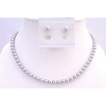 BRD933 Lite Grey Pearls Necklace Set w/Stud Pearls Earrings 6mm Pearls Jewelry Swarovski Pearls Set