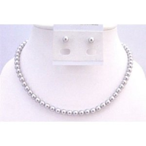 BRD933 Lite Grey Pearls Necklace Set w/Stud Pearls Earrings 6mm Pearls Jewelry Swarovski Pearls Set