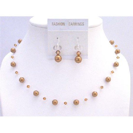 BRD894 Hancrafted Copper Pearls Copper Crystals Jewelry Set Genuine Swarovski Affordable Inexpensive