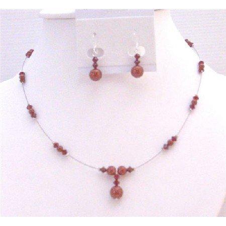 BRD971 Wine Pearls Red Bordeaux & Siam Red Swarovski Crystals & Pearls Bridemaids Jewelry Set