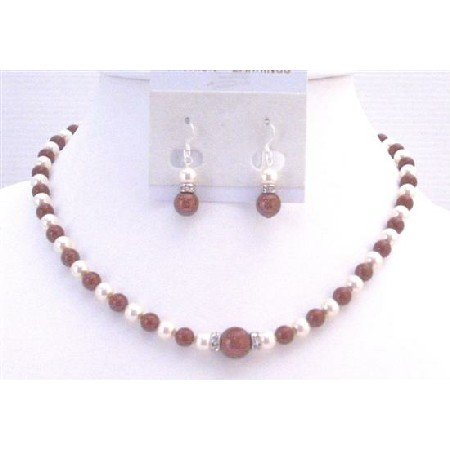 BRD915  Wine Pearls w/White Pearls & Diamond Spacer At the Center Swarovski Bordeaux Pearls Set