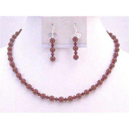 BRD892 Genuine Swarovski Red Pearls Called Bordeaux Pearls With Siam Red Jewelry Set