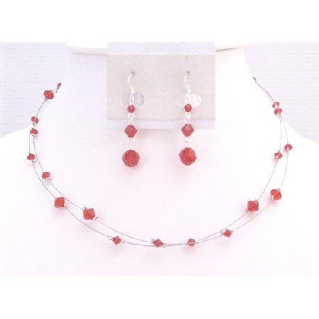BRD924 Lite Siam Red Crystals Bridal Bridemaids Flower Girl Jewelry Double Stranded Necklace Set