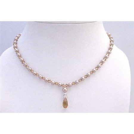 BRD903 Champagne Pearls Handcrafted Jewelry Bridal Lite Colorado Crystals Jewelry Necklace Set