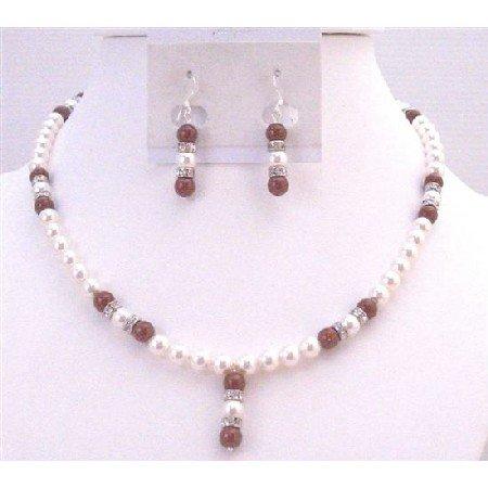BRD908  Sophisticate Jewelry Wine Bordeaux Swarovski Pearls Necklace & Earrings Set