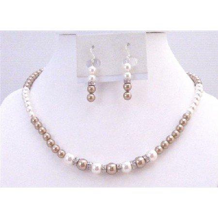 BRD911 Jewlery Set Bronze Pearls & White Pearls Handmade Genuine Swarovski Pearls Set