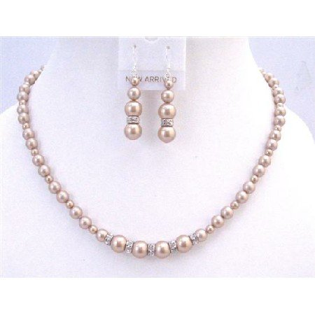 BRD952 Champagane Pearls With Diamond Sparkling Rondells Spacer Jewelry Set