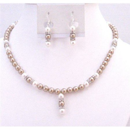 BRD909 Bronze Pearls White Pearls w/Sparkling Diamond As Spacer Necklace Set