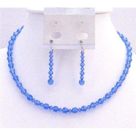 BRD922  Sapphire Crystals Round Bead Crystals Necklace Set Genuine Swarovski Sapphire Round Crystals