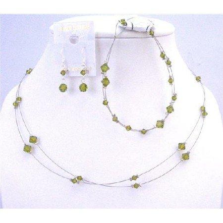 BRD962 Green Olivine Swarovski Crystals Double Stranded Complete Set w/Bracelet