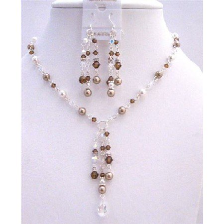 BRD957  Drop Down Bronze White Pearls Clear & Smoked Topaz Crystals Necklace Set