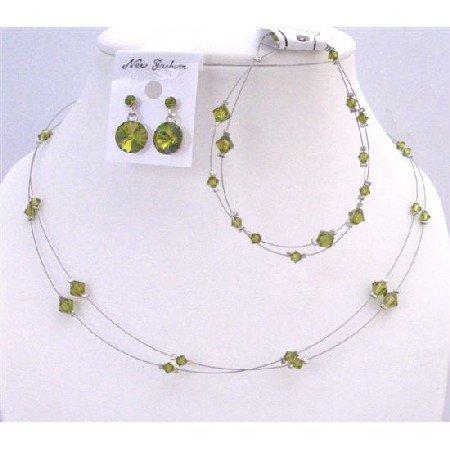 BRD961 Olivine Jewelry Green Olivine Swarovski Crystals Double Stranded Necklace Set w/Bracelet