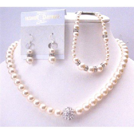 BRD942 Ivory Pearls 8mm Exclusively Gorgeous For Bridal Jewelry Complete Set w/Bracelet