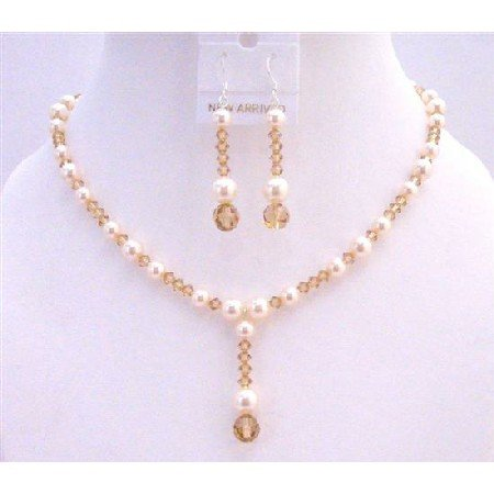 BRD945  Lite Colorado Swarovski Crystals w/Ivory Pearls Drop Down Fashionable Jewelry Set