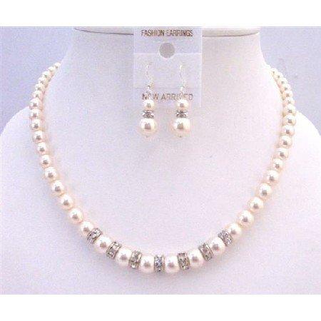 BRD946  Diamond Sparkling Rondells Ivory 8mm Pearls Necklace Set Wedding Set Handcrafted Jewelry Set