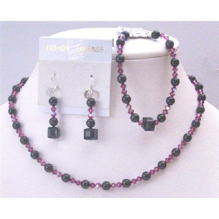 BRD951 Swarovski Mystic Pearls With AB Coated Fuschia Crystals Complete Set Affordable