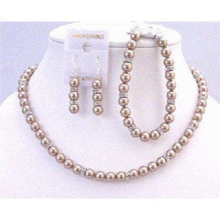 BRD936 Wedding Bridal Bridemaids Jewelry Genuine Swarovski Bronze Pearls Jewelry