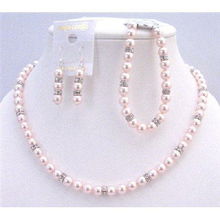 BRD934 Swarovski Rose Pearls Jewelry Set Gift Prom Flower Traditional Sleek Pink Pearls w/Bracelet