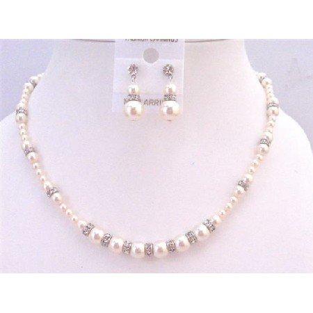 BRD937 Swarovski Ivory Pearls w/Sparkling Diamond Spacer Called Silver Rondells Jewelry Set