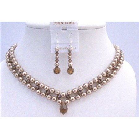 BRD960 Interwoven 3 Stranded Necklace Set Bronze Pearls/Smoked Topaz Crystals Set