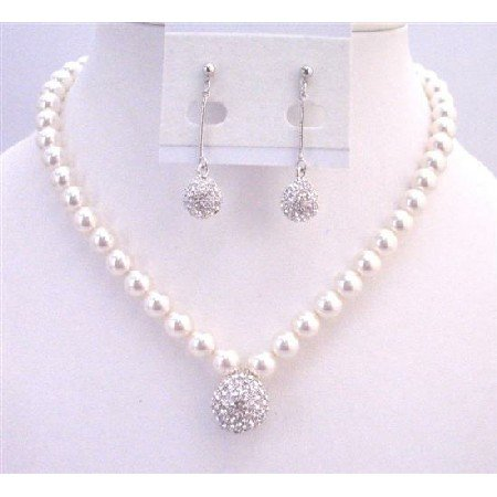 BRD956 Mother Of Groom With Ball Pendant Fully Paved With Swarovski Crystals Necklace Set
