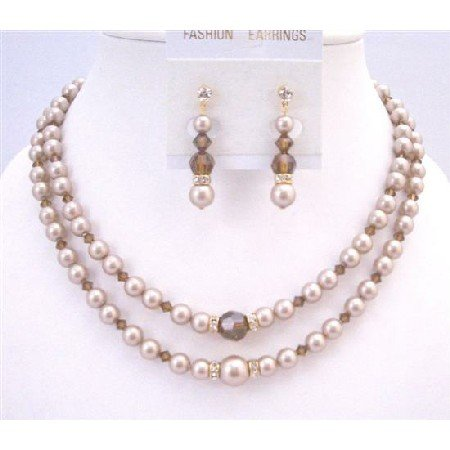 BRD939 Champagne Pearls Double Stranded Necklace Set w/ Smoked Topaz Crystals Wedding Jewelry