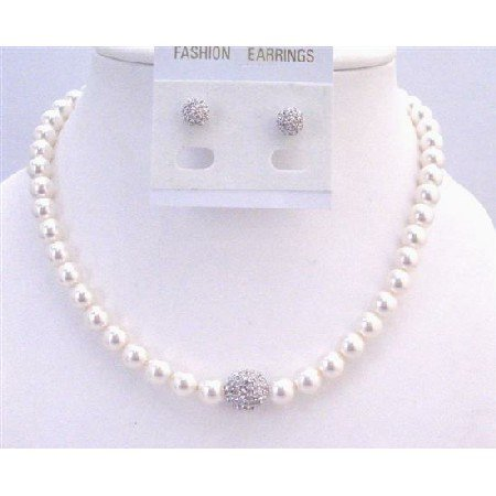 BRD955 White Pearls Bridal Jewelry Set 8mm Pearls w/Diamond Ball Pendant Paved Ball Earrings