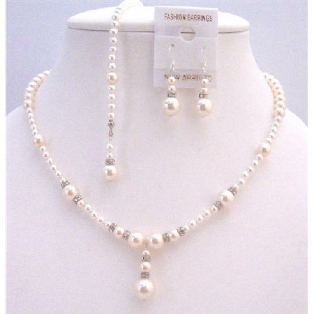 BRD900  Back Drop Down Necklace Set White Pearls & Ivory Pearls Back Drop String Necklace
