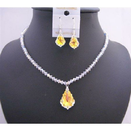 BRD950  AB Swarovski Crystals 4mm With AB Baroque Pendant & Earrings Necklace Set