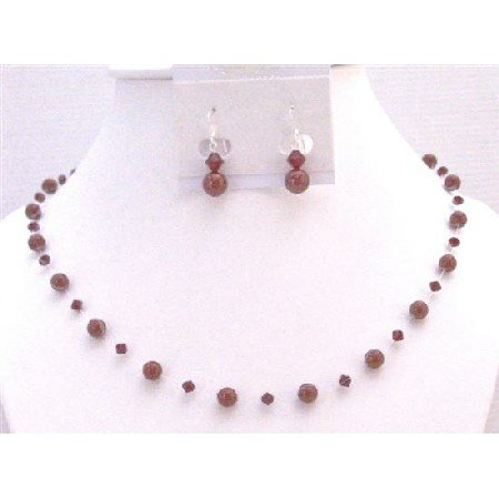 BRD970 Wine Red Bordeaux Wine Pearls Siam Red Swarovski Crystals & Pearls Bridemaids Jewelry Set