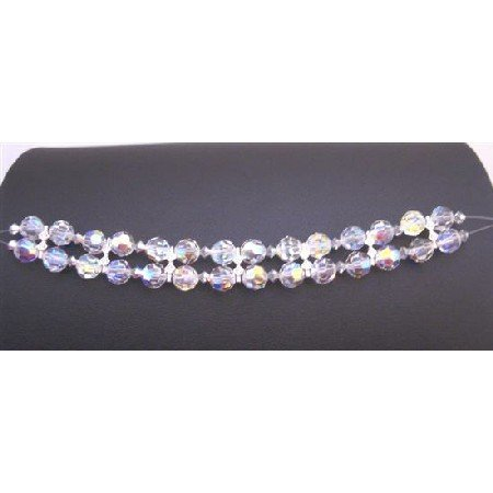 TB900 Comet Argent Crystals Bracelet w/ AB Crystals Round Crystals Bracelet Bridal Wedding Jewelry