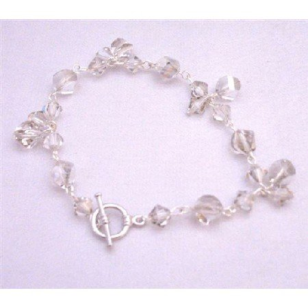 TB894  Swarovski Silver Shade Bracelet Different Shape Size & Shape W/ 8mm Helix Beads Jewelry